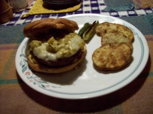 Green Chile Burgers ready to eat
