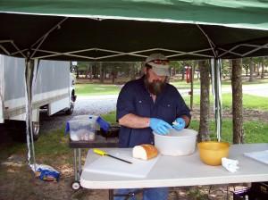 Preparing Pina Colada Bread Pudding